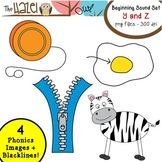 Beginning Sound Phonics Clip Art - Y and Z Set