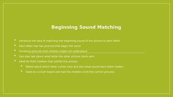 Beginning Sound Picture Matching