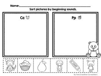 Beginning Sound Picture Sort Freebie for Kindergarten