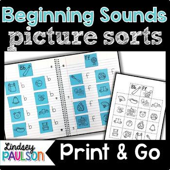 Beginning Sound Picture Sorts No Prep