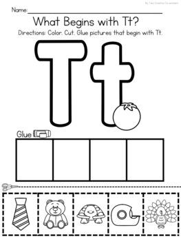Beginning Sound Picture Sorts - Cut and Glue Worksheets for Kindergarten