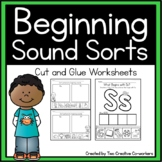 Beginning Sound Picture Sorts - Cut and Glue Worksheets fo