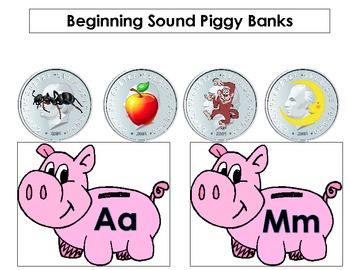 Beginning Sound Piggy Banks Put the Coin into the Piggy Bank Center Activity