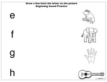 Beginning Sound Practice Prek/Kinder