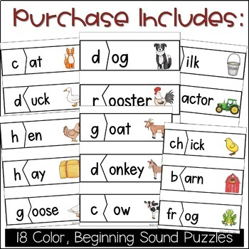 Beginning Sound Puzzles (On the Farm)