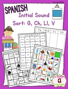 Beginning Sound Recognition: Initial Sound Word Sort - G Ch V Ll (Spanish)