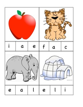 Beginning Sound Say and Clip Activity