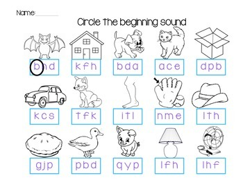 Beginning Sound Sheet - Color and Black & White