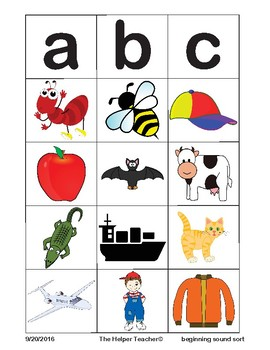 Beginning Sound Picture Sort