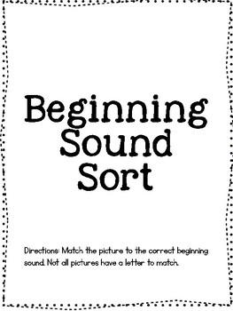 Beginning Sound Sort Cut and Paste Phonics