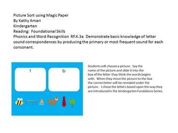 Beginning Sound Sort Freebie (SMART Board)