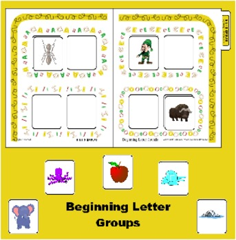 Beginning Sound Sort for A E I and O - Vowel sort folder style game