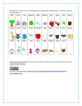 Beginning Sound Spanish Puzzles