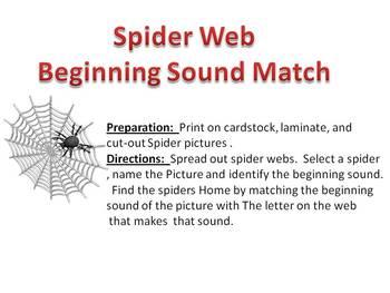 Beginning Sound Spider Web Match