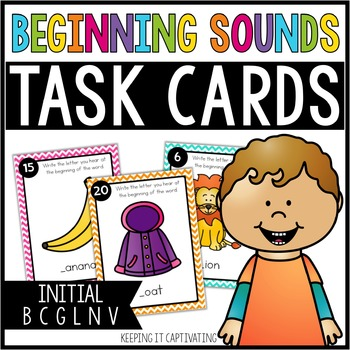 Beginning Sounds Task Cards {Initial B C G L N V}