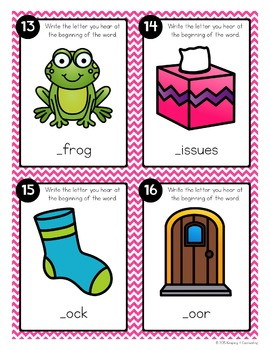 Beginning Sounds Task Cards {Initial D F M P S T}