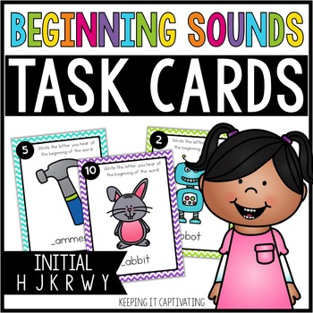 Beginning Sounds Task Cards {Initial H J K R W Y}
