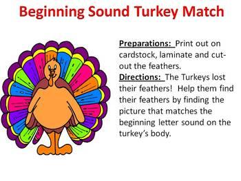 Beginning Sound Turkey Match