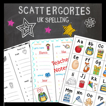 Scattergories Lower Primary Beginning Sounds and Vocabulary AUS UK