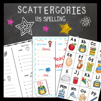 Scattergories Lower Elementary Beginning Sounds Vocabulary Game US