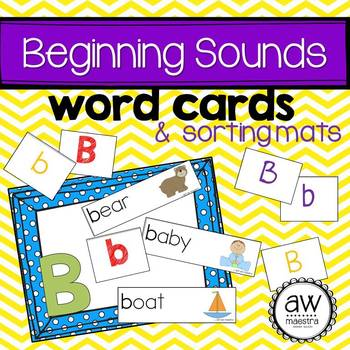 Beginning Sound Word Cards and Sorting Mats