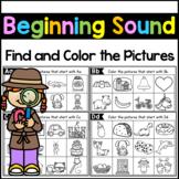 Beginning Sound Worksheets - Distance Learning Packet Kindergarten