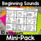 Beginning Sound Worksheets - No Prep Beginning Sound Activities