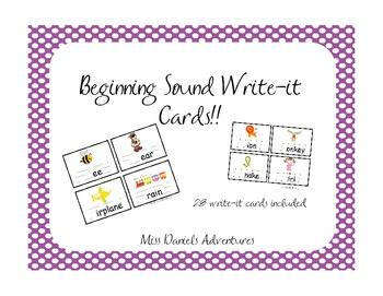 Beginning Sound Write It Cards