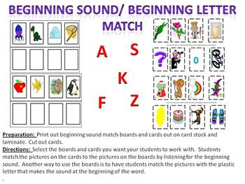 Beginning Sound or Beginning Letter Match Up - isolating sounds