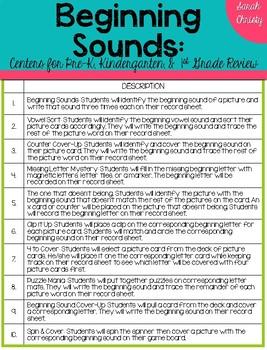 Beginning Sounds: 10 Hands On Centers
