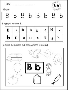 Beginning Sounds Practice Sheets