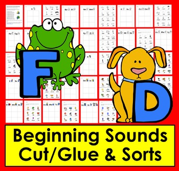 Beginning Sounds Cut and Glue & Word Sorts - Kindergarten