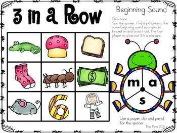 Beginning Sounds: 3 in a Row Spinner Game Freebie