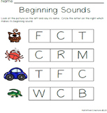 FREE Beginning Letter Sounds A-F Worksheets Letter Recognition