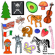 Beginning Sounds A-Z Clipart for Each Letter 150+ Color and Black & White Images