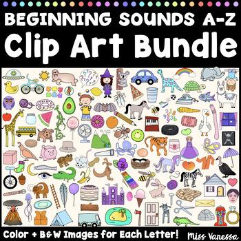 Beginning Sounds A-Z Clip Art Bundle