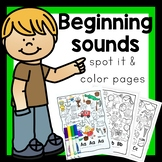 Initial beginning Sounds and Letters. A-Z Spot it and Colo