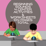 Beginning Sounds A-Z Worksheets & 4 Center Activities