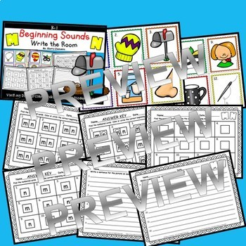 Beginning Sounds A-Z Write the Room BUNDLE