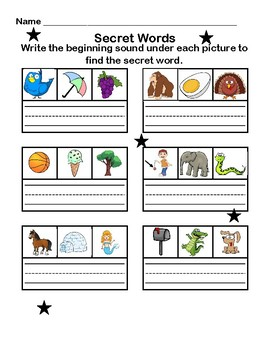 Beginning Sounds Activity: Find the Secret Words