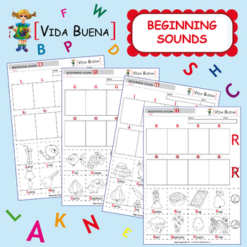 """Beginning Sounds (Activity 1) """"Color, Cut and Paste"""""""