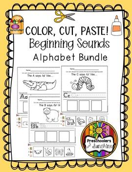 Beginning Sounds Alphabet Bundle (Color, Cut and Paste!)