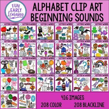 Beginning Sounds Alphabet Clip Art Mega Bundle A-Z - Phonics Clip Art Bundle