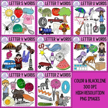 Beginning Sounds Alphabet Clip Art Mega Bundle A-Z - Phonics Clip Art Bundle