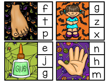 Beginning Sounds/ Alphabet Clip Cards - Halloween Theme
