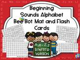 Beginning Sounds Alphabet Bee Bot Mat and Flash Cards Black&White