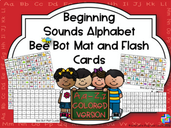 Beginning Sounds Alphabet Bee Bot Mat and Flash Cards Colored