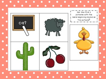 Beginning Sounds Assessment Cards:  Blends and Digraphs