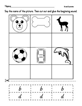 Beginning Sounds b and d- denelian and basic print