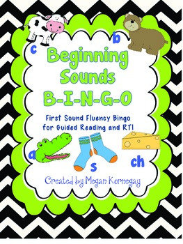 Beginning Sounds Bingo First Sound Fluency DIBELS for Guided Reading and RTI